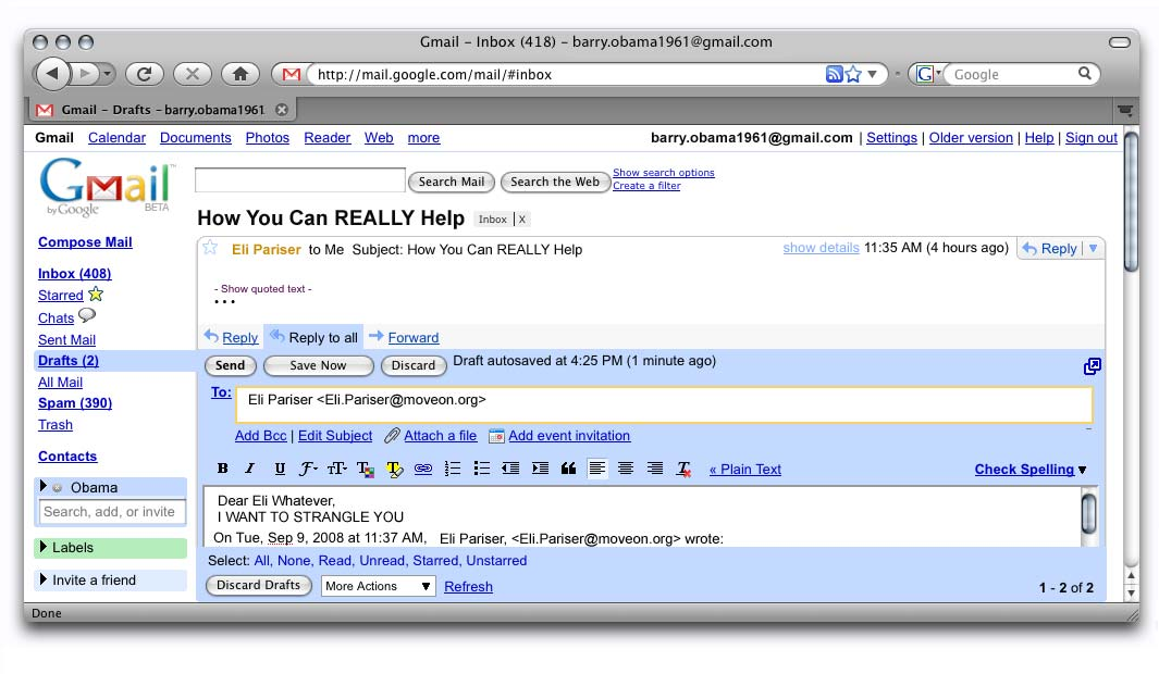 barack obama s gmail