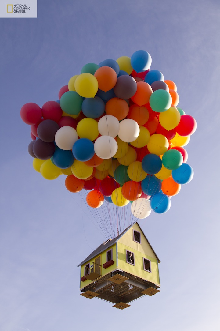 up inspired floating house