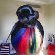 hidden rainbow hair trend conceals