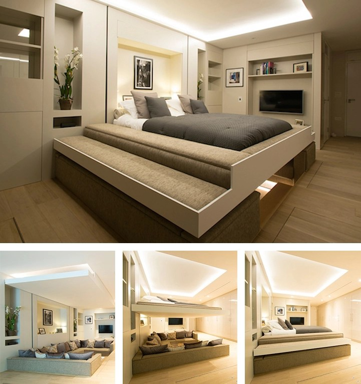 Hidden Bed Descends from Ceiling to Turn a Living Room