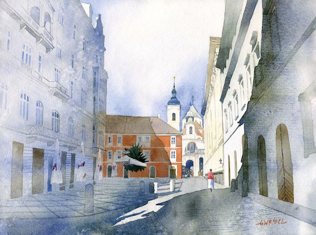 Beautiful Watercolor Street Scenes by Grzegorz Wrbel