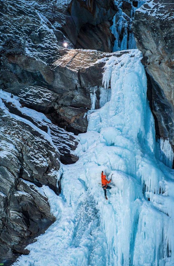 Beautifully Blue Frozen Waterfall in Italy