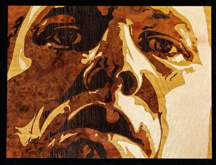Detailed Wood Portraits Crafted Using the Marquetry Technique
