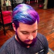 men dyeing hair bright