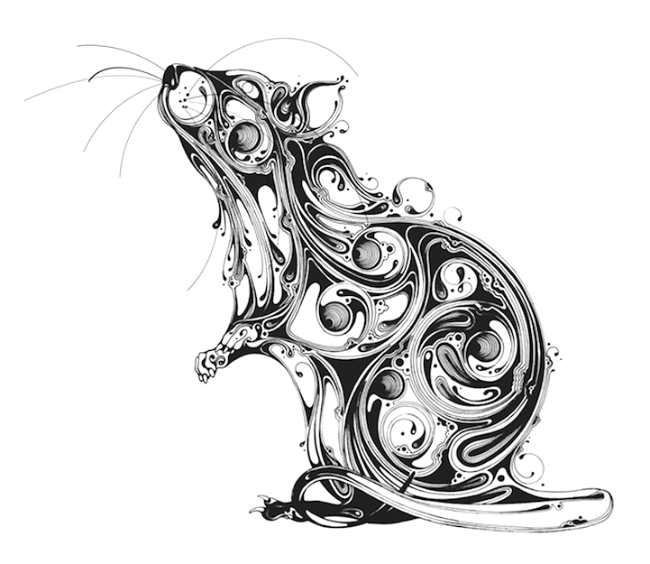 Mesmerizing Animals Emerge from Elaborate Swirls of Ink
