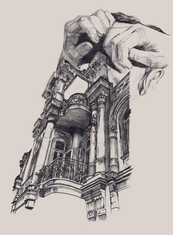 Surreal Drawings Of Hands Cradling Architecture