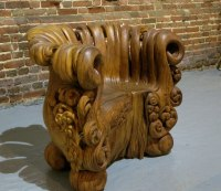 Elegant Wooden Chair Hand-Carved from a Single Tree Stump
