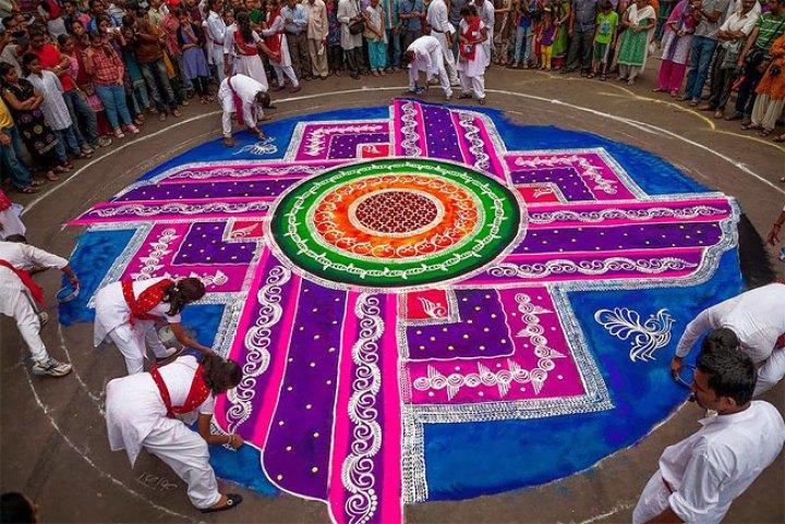 Indian Folk Art;Rangoli; Uses Colorful Flour and Rice to create Stunning Designs