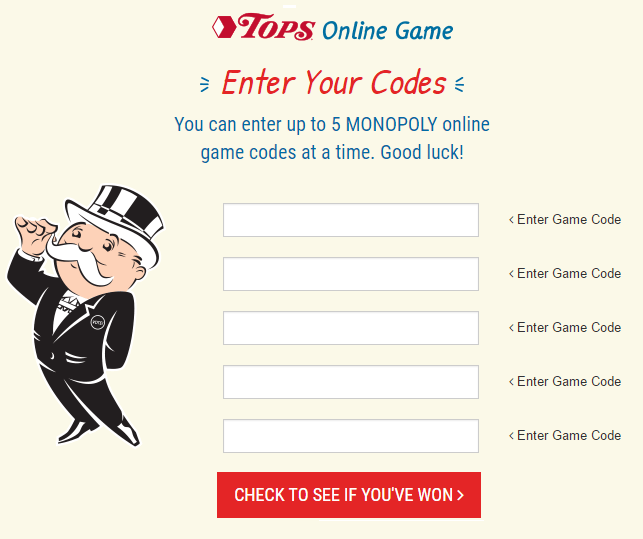 Enter Monopoly Game Codes for Tops Markets: Special Store Coupon Offers