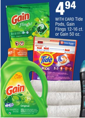 Tide Pods, Gain Flings 12 16 Ct Or Gain 50 Oz At Cvs