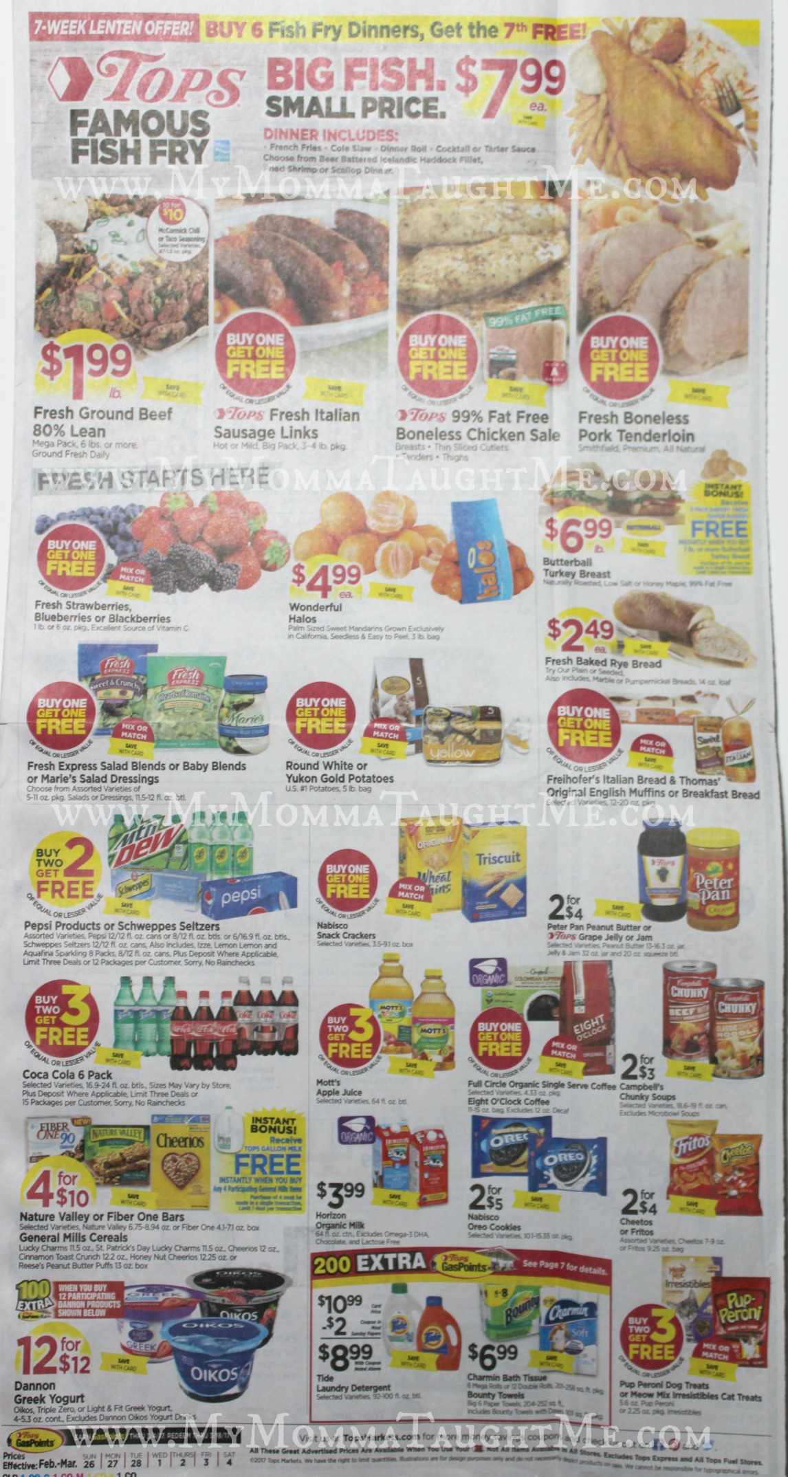 Tops Markets Ad Scan Week Of 2-26-17 to 3-4-17 Page 1
