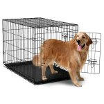 Heavy Duty Foldable Double Door Dog Crate With Divider And Removable ABS Plastic Tray