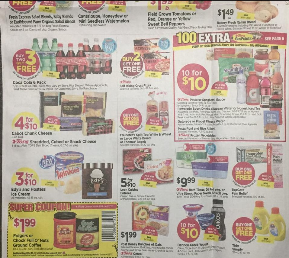 Tops Markets Ad Scan Week Of 4 16 17 To 4 22 17 Page 1b