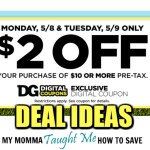 $2 Off $10 Dollar General Deal Ideas