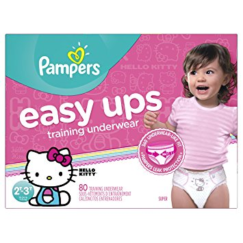 Pampers Easy Ups Training Underwear Girls 2T 3T (Size 4), 80 Count