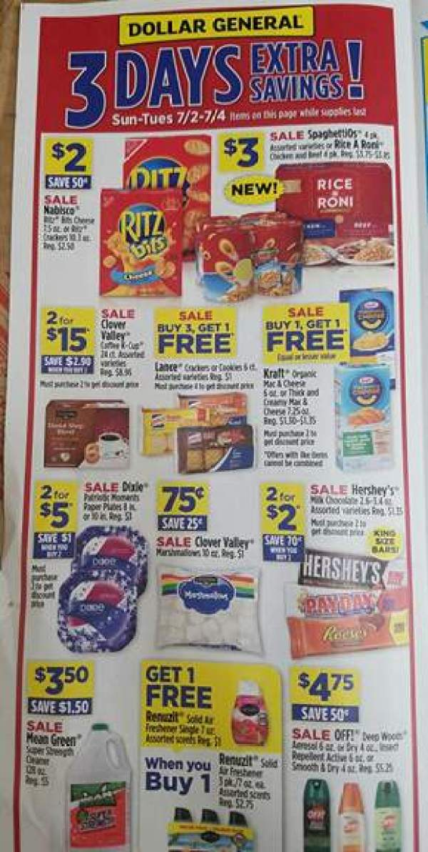 Dollar General Ad Scan Week Of 7 2 3 Day Sale