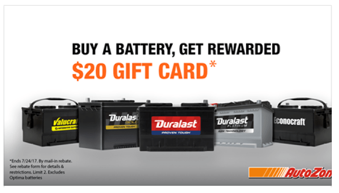 Free $20 Gift Card Wyb Battery At Autozone