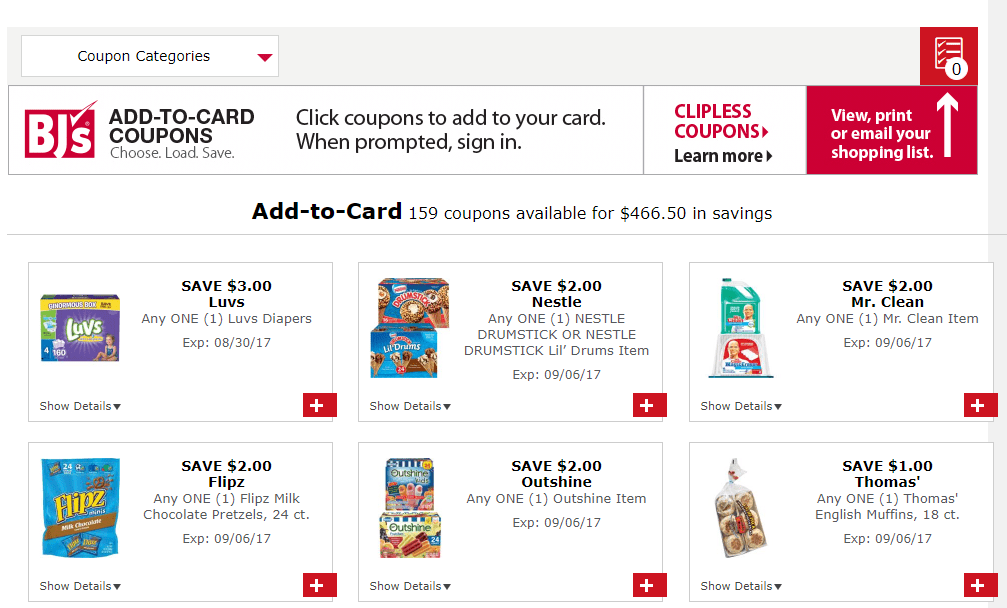 BJ's Add Coupons To Card