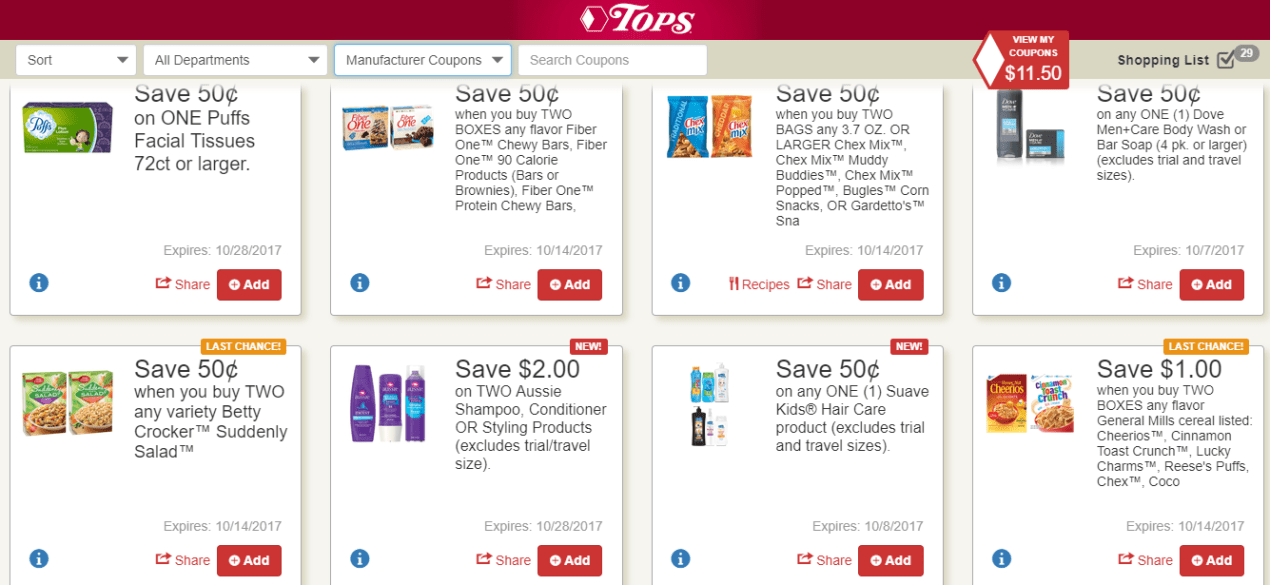 Tops Markets Digital Coupon Offers