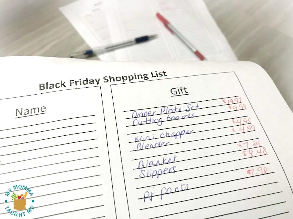 Black Friday Shopping List Printables