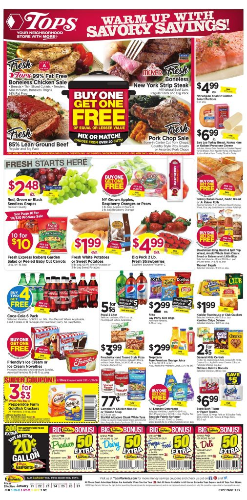 Tops Markets Ad Scan Week 1 21 18 Page 1