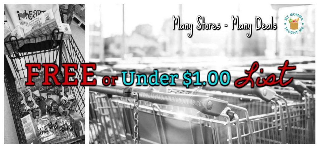 Free Or Under $1 00 List