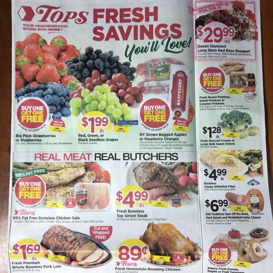 Tops Markets Ad Scan Week 2 4 18 Page 1a