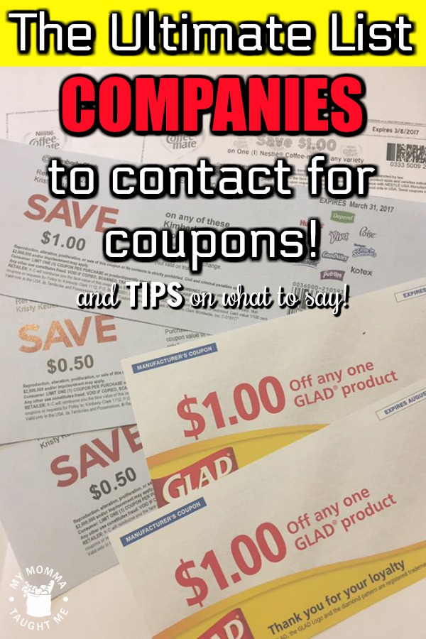 The Ultimate List Of Companies To Contact For Coupons And Tips On What To Say!