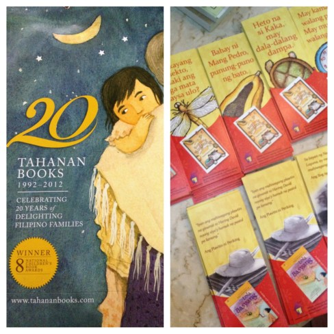 The Tahanan Books Paper bag and the book marks with excerpts from each book