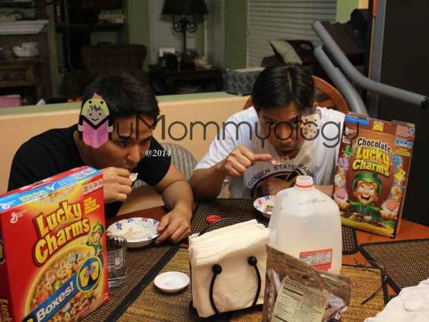 Brothers planning over the kids' Lucky Charms.