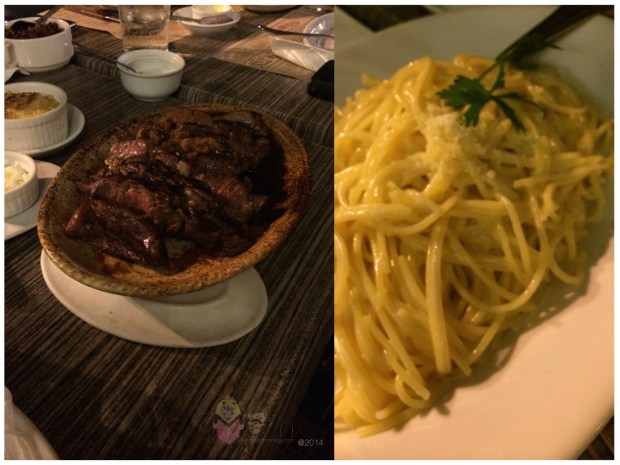 Left:  Mamou Steak!  Right:  Truffle Pasta