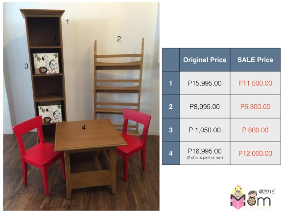 1 - Elizabeth Tower, 2 - Lara Bookrack, 3 - Samantha table (with storage) and 2 chairs in red or pink.