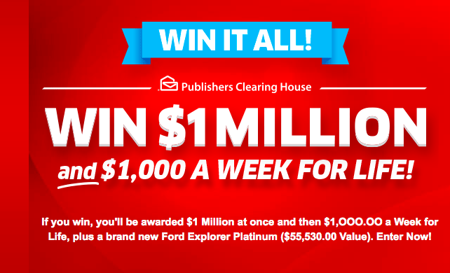 Enter PCH Win It All $1,000,000 Contest (Plus $1,000 a Week)