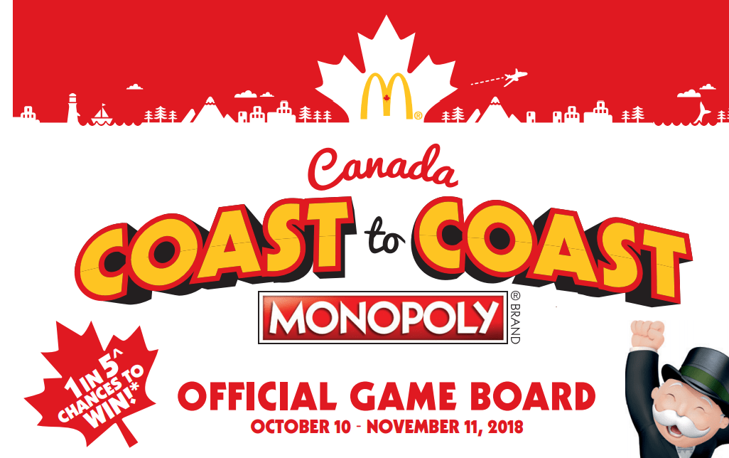 2018 mcdonald 39 s coast to coast rare pieces monopoly canada. Black Bedroom Furniture Sets. Home Design Ideas