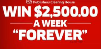 PCH.com $2,500 a Week Forever SuperPrize