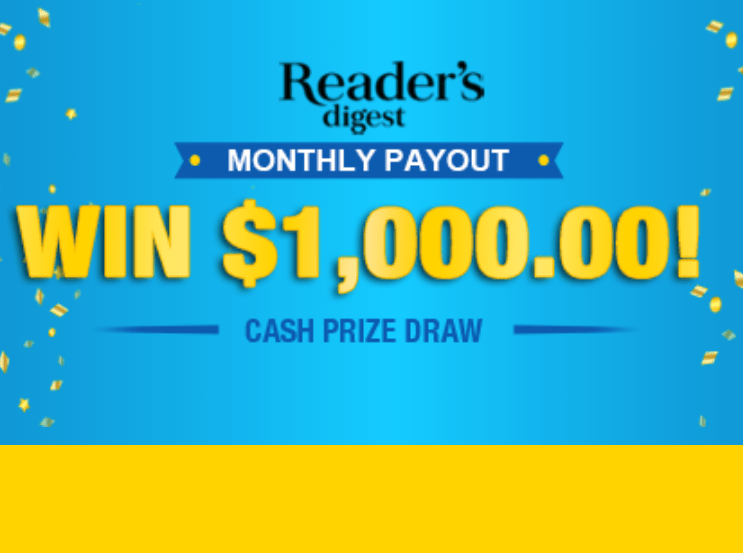 ReadersDigest.ca Monthly Payout Sweepstakes