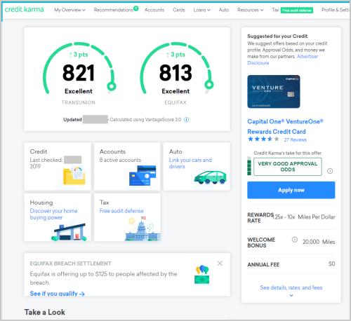 credit karma dashboard review