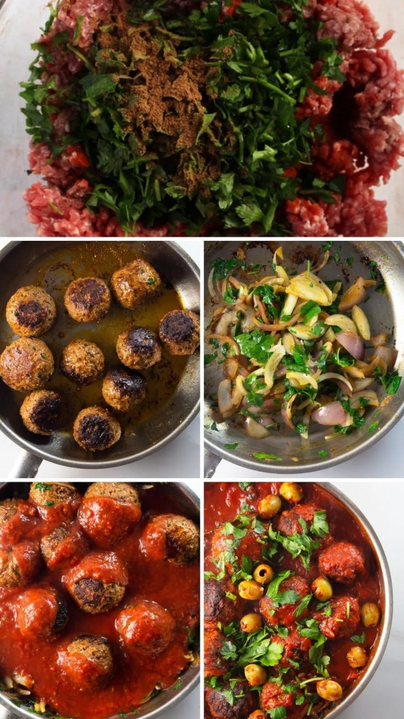 Moroccan Meatballs step by step collage