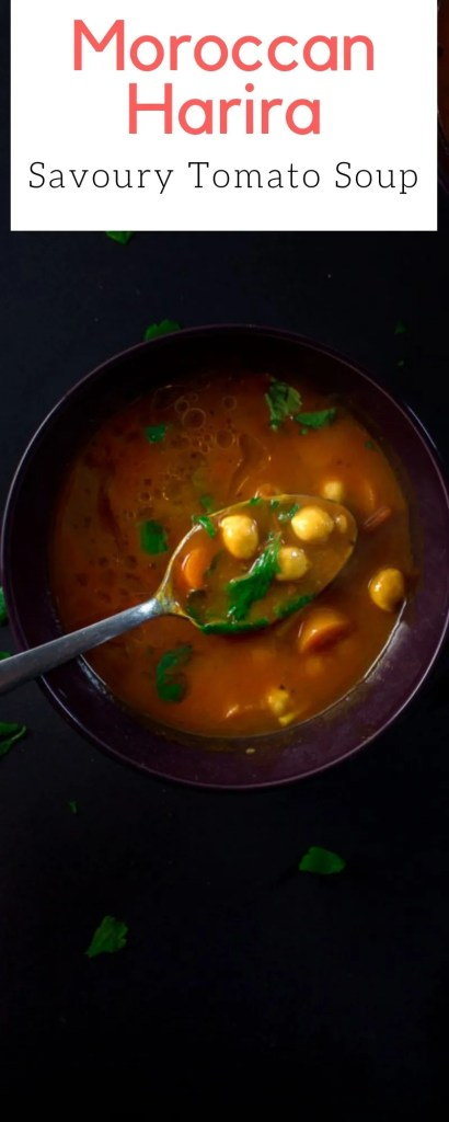 Harira is Savoury Tomato Soup, made with chickpeas, lentils and topped with fresh cilantro and squeeze of lime. It truly is one of the world's greatest soups! | #harira #recipe #ramadan #easy #tomato #moroccan