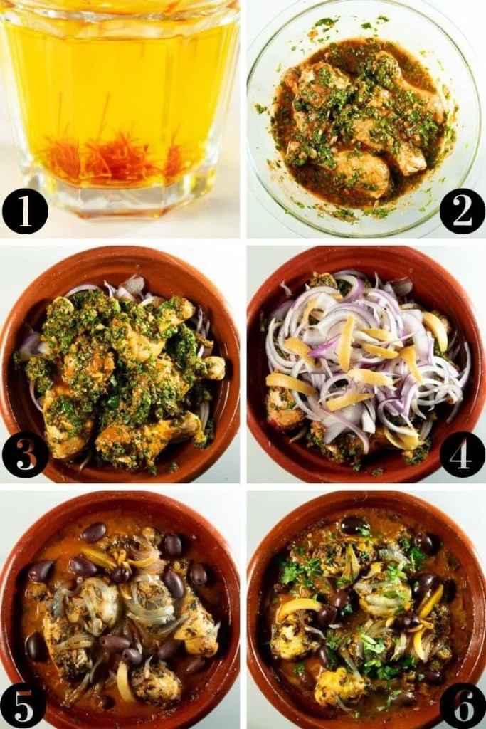 Chicken Charmoula Tagine step-by-step collage