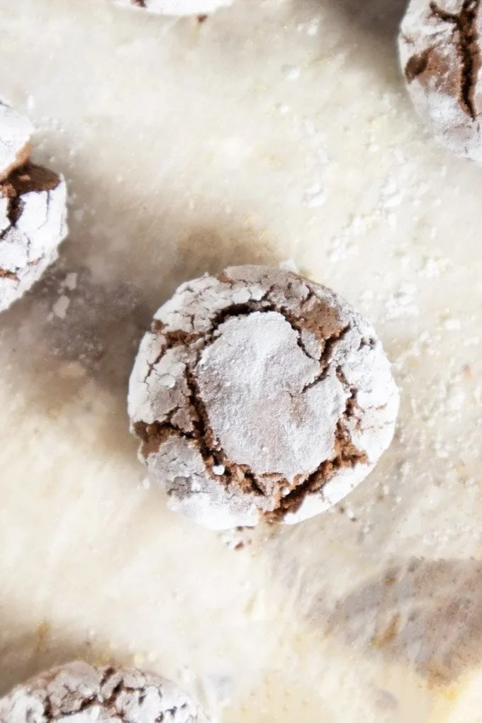 Chocolate Ghoriba on parchment paper