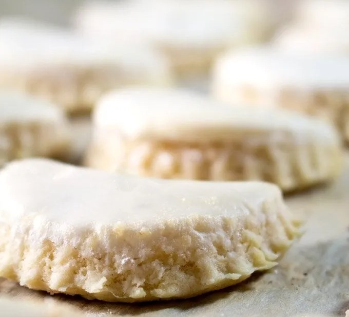 Crescent Cookies on a baking sheet