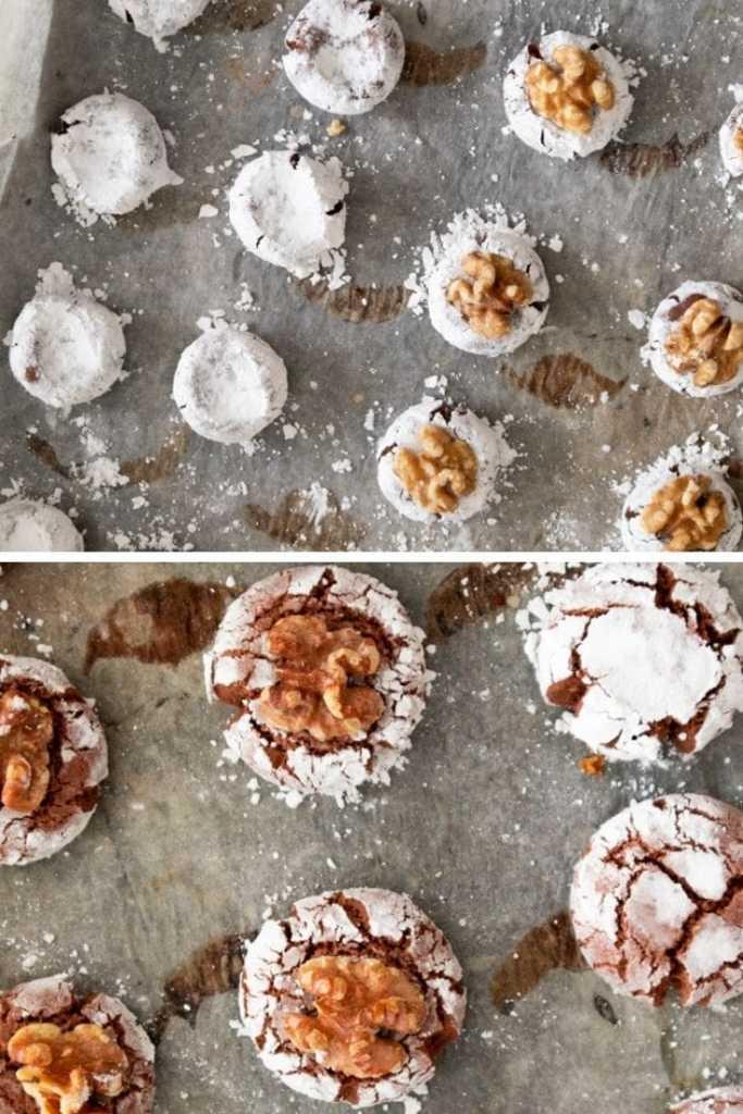 Chocolate Ghoriba on baking sheet