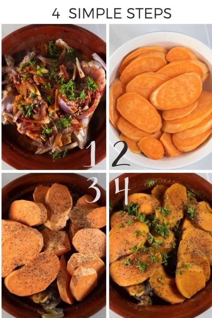 How to make sweet potato tagine collage.