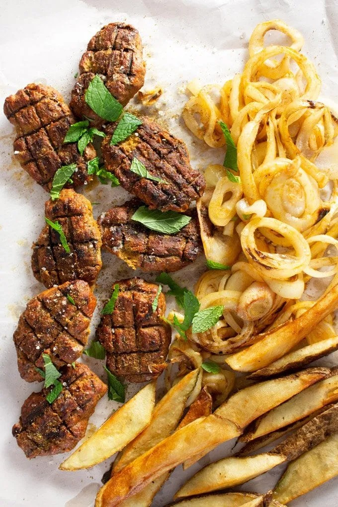 Moroccan Grilled Kafta served with fries and grilled onions