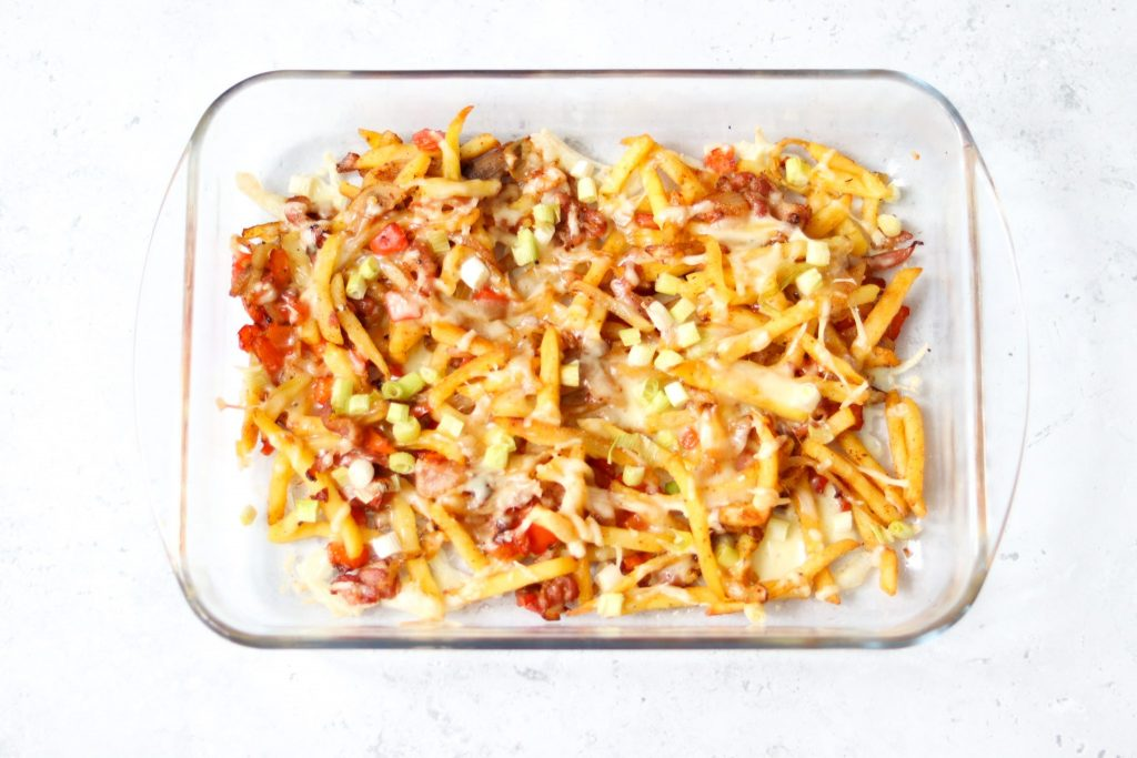 Cheesy chips just baked from the oven.