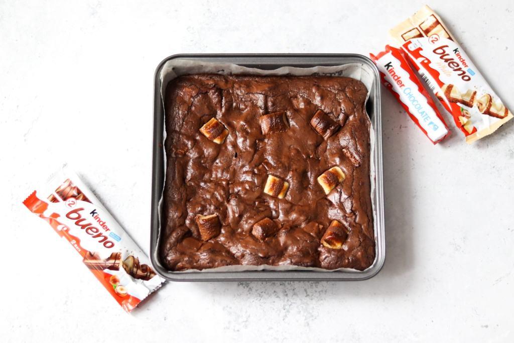 Homemade Kinder Bueno brownies