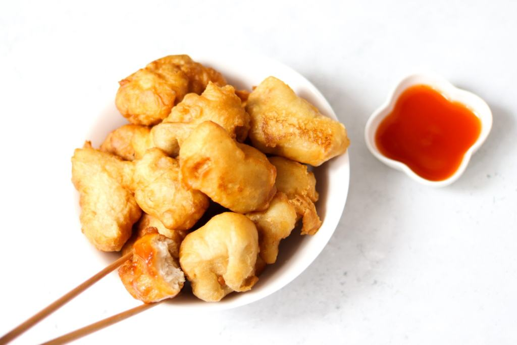 How to make Chinese chicken balls and a homemade sweet and sour dipping sauce.