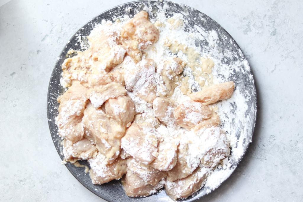 Chicken coated in cornflour