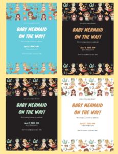 graphic regarding Printable Mermaid Baby Shower Invitations titled Customizable Mermaid Little one Shower Invites